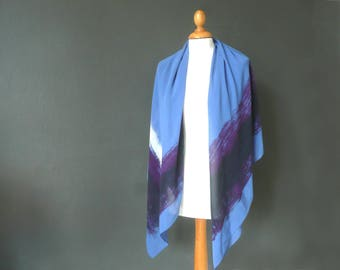Blue silk scarf - blue and purple silk wrap - silk crepe scarf - large blue white and purple shawl - large silk scarf