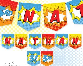 Superhero Birthday Banner Custom Name / Printable / Party Decoration / DIY / superhero party decoration