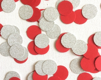 Red and Silver Confetti, Red and Silver Table Confetti, Red and Silver Table Decorations, Red and Silver Party Decorations,