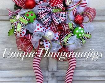 Elf Wreath, Christmas Wreath, Holiday Wreath, Christmas Holiday Wreath, Christmas Door Wreath