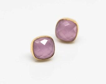 Earrings Gilded Chalcedon Pink earrings