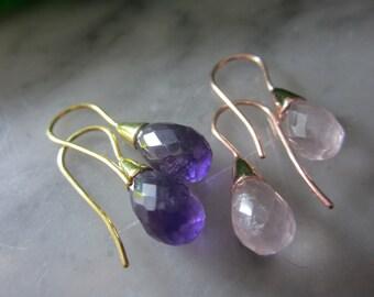 Earrings Amethyst Rose Quartz Drop checkerboard cut ring chain lily Briolett