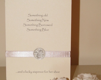 Silver Sixpence Wedding Card