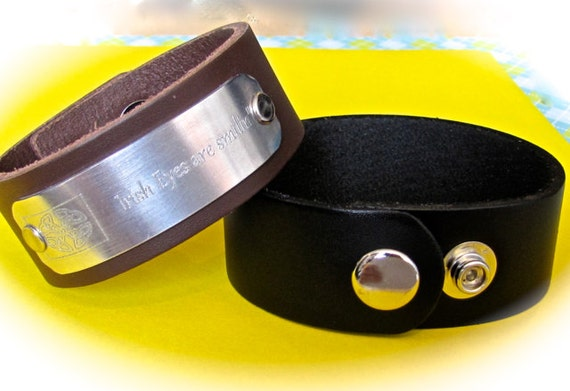 "5 - 1"" Leather Cuff Wrist Band Blanks in Smooth Black or Espresso Metal Snaps - QTY 5"