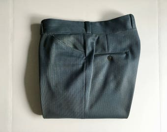Vintage Men's 70's Gray Pants, Straight Leg, Slacks (W38)