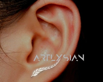 Leaf Ear Climber Leaf Ear Bridal Earrings Ear Crawler Silver Earrings cuff Ear Climber Women earrings Silver Climber Ear Jacket Artlysian