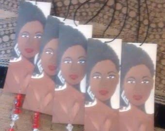 Car rear view mirror charm,decorative charm,Car accessory,Bookmark,black women painting,black poetry