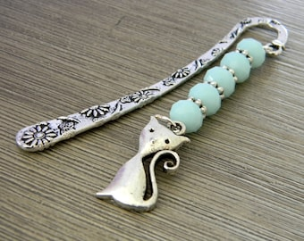 Cat Bookmark with Mint Blue Glass Beads Short Shepherd Hook Bookmark Silver Color