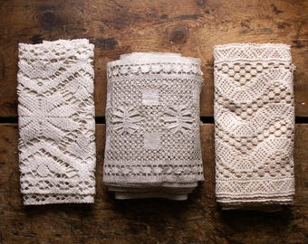 Antique Lace Collection - Three Uniquely Patterned Wide Borders of Lace