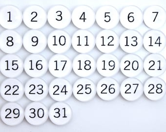 31 White Calendar Number Glass Magnets - NEW!