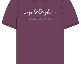 Pi Beta Phi // Pi Phi // Sorority Short Sleeve Comfort Color Tshirt (Shoreline) // Choose Your Color
