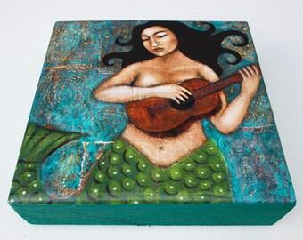 Mermaid Under the Sea Painting - PRINT of Original Painting on Chunky Wood Block - Mixed Media Folk Art by Tamara Adams