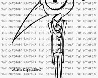 INSTANT DOWNLOAD Whimsical Stork Digital Stamp Image