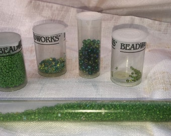 Glamorous Green Seed Bead Assortment 10, 11, and more