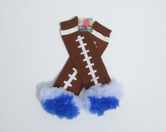 Royal Blue and White Chiffon Ruffled Football Leg Warmers, Kentucky Wildcats Baby, Baby Girl Ruffled Legwarmers, Wildcats Leg Warmers
