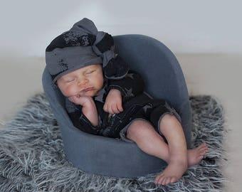 RTS, OAK newborn boys 3 piece photography prop set, newborn romper, newborn hat and pants
