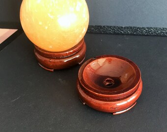 Large Crystal Ball Stand- Wood Sphere Stands / Fall Decor