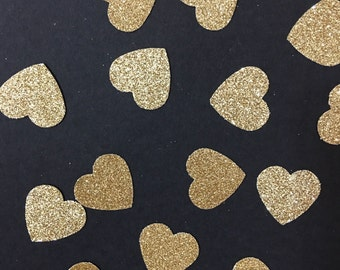 Gold Glitter Confetti Bundle,  gold heart confetti