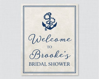 Nautical Bridal Shower Welcome Sign Printable - Navy Anchor Nautical Bridal Shower Customizable Sign - Nautical Bridal Shower Decor 0011