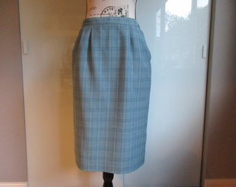 Light Blue Pendleton Plaid Wool Straight Skirt Below Knee Back Slit With Pockets Classic Style