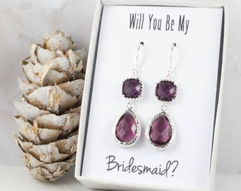 Long Amethyst Silver Teardrop Earrings, February Birthstone Earrings, Purple Silver Earrings, Bridesmaid Earrings, Purple Wedding Jewelry