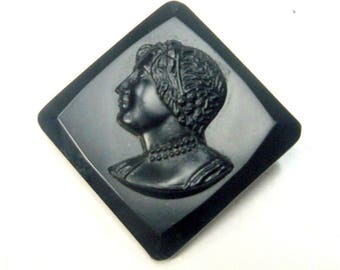 Black Glass CAMEO Brooch, Made in Czecho Slovakia,   Womans Portrait Pin, 1950s or Earlier Vintage, Grief & Mourning Brooch