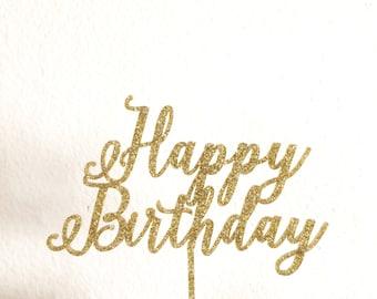Happy Birthday Cake Topper | First Birthday Topper | Baby Girl Birthday | Baby Boy Birthday | Calligraphy Script Cake Topper