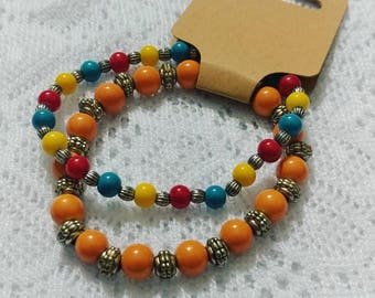 Glass Beaded Bracelet in Fun Primary Colors