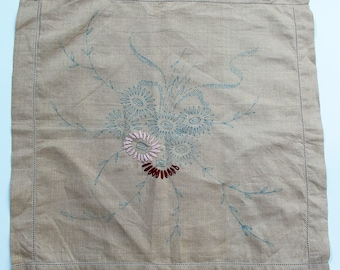 Vintage Embroidery Pattern- Printed linen cushion cover- Floral Spray Design