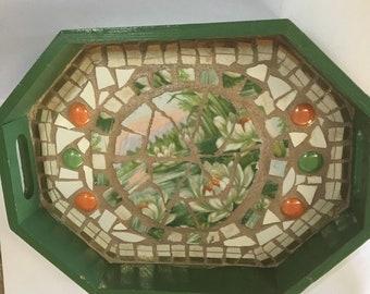 Mosaic tray, handmade broken china wooden tray