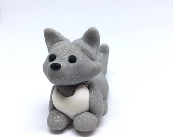 WOLF FIGURINE - Cute Polymer Clay wolf/fox figurine, totem - Handmade Unique animal figure.
