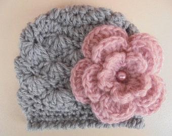 Crochet baby hat, newborn girl hat, baby girl hat, newborn crochet hat, baby girl beanie, gray baby girl hat, crochet baby outfit