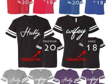 Hubby Wifey Custom Year LAT T-shirt Couple Matching Shirts Hubby and Wifey Football Jerseys Customized His and Hers ( Comes 2 T-Shirt)