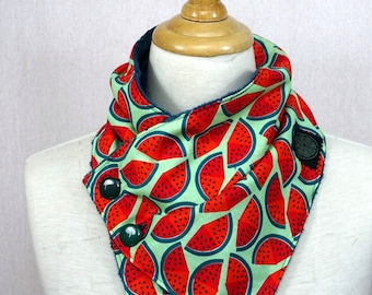 adult cowl made with red and green watermelon print
