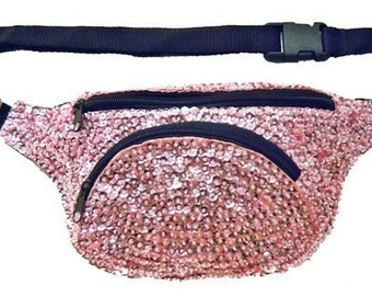 Light Pink Sequined Fanny Pack