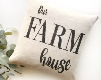 Our Farm House | Rustic Pillow Cover | Farmhouse Pillow | Multiple Sizes Available | Custom Pillow Cover | Made To Order