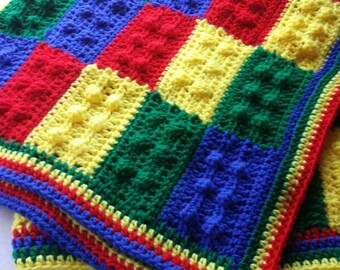 Lego Baby Blanket Crochet Lego Afghan Lego Throw Crochet Baby Afghan Made to order