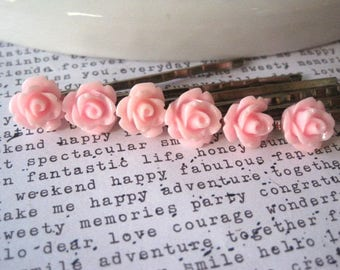 Pink Bobby Pin Set, 5 pc Flower Hairpins, Light Pink Roses, Hair Accessory, Bridesmaid Gift, Flower Girl, Small Gift, Stocking Stuffer