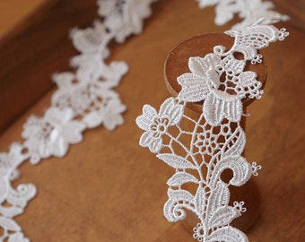 off white guipure lace trim, bridal lace trim with elegant flowers, venise lace trim by the yard