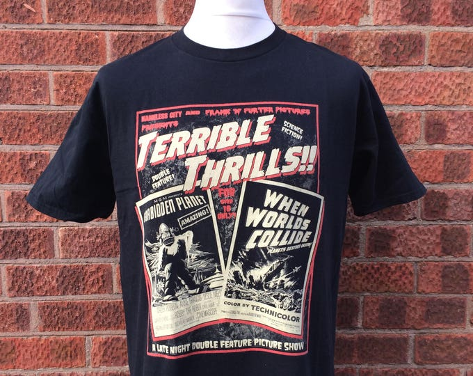 Terrible Thrills!! A science fiction double feature 50's vintage style horror t shirt, Gift for horror nerd, Cult movie geek, nameless city