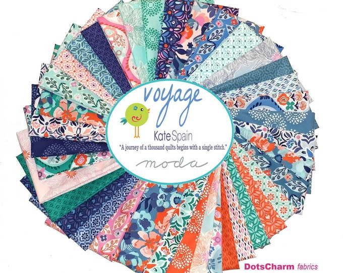 Featured listing image: Kate Spain Fat Quarter Bundle, Voyage COMPLETE COLLECTION, 38 Fat Quarters, by Kate Spain for Moda Fabrics Quilting Fabric Scraps