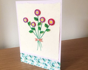 Quilled folk style flowers greetings card for birthday, wedding, baby shower