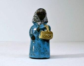 Vintage Sweden Glazed Women Holding Dried Flowers Basket Ceramic Vase Figurine Jie Gantofta Designer Kirsten L. Eberlein
