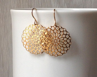 Delicate gold bohemian earrings, gold filigree earrings, gold dangle earrings, dainty gold disc earrings, lacy bridesmaid gift under 25