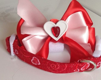 Red Hearts Valentine's Day Collar with Ribbon Bow  for Girl Dog or Cat