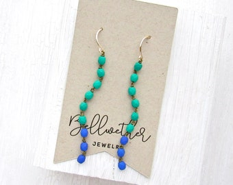 Long Earrings Dangle / Green and Blue Earrings / Lightweight Earrings / Colorful Earrings / Statement Earrings / Boho Earrings / Modern