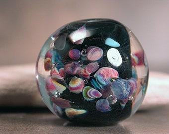 Lampwork Glass Focal Bead, Chunky Round Art Glass Bead, Divine Spark Designs, SRA