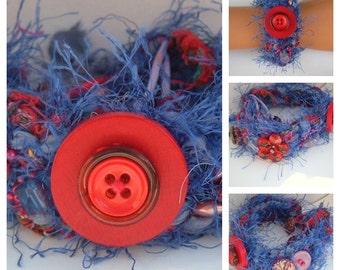 Rag Crochet Embellished Lavender Reds  Bracelet recycled Vintage OOAK