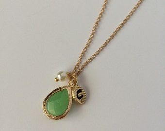 Mint Green Teardrop Necklace--Initial Necklace--Gold Leaf Initial Charm
