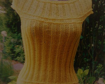 Strapless knit top, yellow, size 38-40 (M)